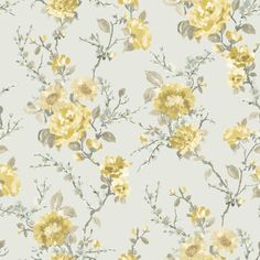 Lucy Duck Egg & Yellow Floral Wallpaper | Departments | DIY at B&Q