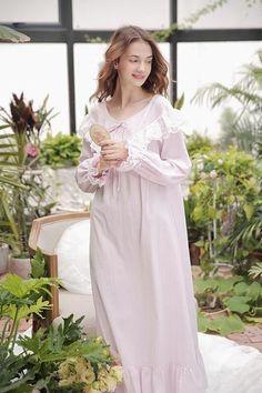 05a8530f5b Sleepwear Women Gown Cotton Nightgown Long Nightdress Retro royal Sleepwear  Ladies Casual Homewear Dress Purple Pink