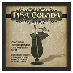 """Framed giclee print with a pina colada recipe motif.   Product: Framed giclee printConstruction Material: Paper, glass and woodColor: Black frameFeatures:  Made in the USAReady to hangDimensions: 12.65"""" H x 12.65"""" W x 1.13"""" D"""