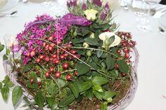 Bepflanzte Körbe als Center Piece - die einzelnen Blumen konnten anschließend von den Gäste mitgenommen werden
