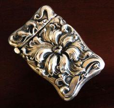 EASTWOOD-PARK CO ~ REPOUSSE Sterling Silver MATCH SAFE VESTA BOX Nouveau ANTIQUE