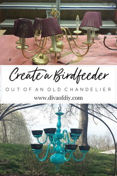 Add color and interest to your backyard with these beautiful DIY bird feeders made from old chandeliers via @divaofdiy