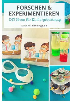 Researcher party: simple ideas for a successful researcher Children's birthday - - Here I show you my very personal research box with great DIY ideas for a successful children's bi - Presents For Kids, Diy Presents, Diy For Kids, Crafts For Kids, Making Fluffy Slime, Party Invitations Kids, Science Party, Lema, Diy School Supplies