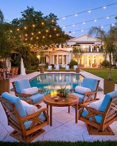 If you have backyard pool that looks like this, then you definitely need some commercial grade string lights hanging overhead! Pick from various cord colors, lengths and bulbs here: http://www.partylights.com/Commercial-String-Lights