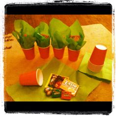 Diy mini easter basket pails perfect for classmate teacher carrot party favors or easter gifts orange cups and green napkins stuffed with negle Choice Image