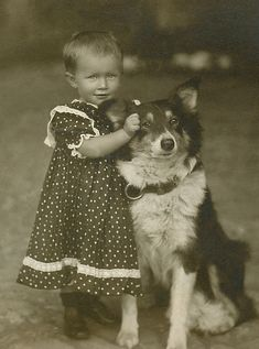 Sweet little girl with her dog