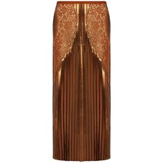 Stella McCartney Lace-panel pleated lamé midi skirt ($941) ❤ liked on Polyvore featuring skirts, stella mccartney, copper, brown pleated skirt, pleated midi skirt, calf length skirts, mid calf skirts and midi skirt