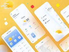 Weather App designed by Mahdi Hajinejad. Connect with them on Dribbble; Interface Web, Interface Design, App Ui Design, Mobile App Design, Site Design, Flat Design, Milestone App, App Design Inspiration, Web Layout