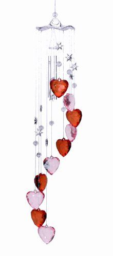 04613a19 Spoontiques Hearts Wind Chime, Pink/Red Spoontiques, Inc Wind Chimes, Lawn  And