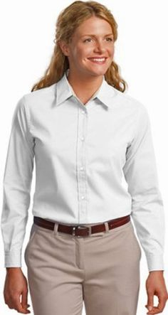 Port Authority Ladies Long Sleeve Easy Care Shirt2XL WhiteLight Stone -- Be sure to check out this awesome product. This is an affiliate link.