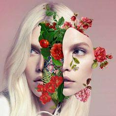 Les Collages colorés de Visages fleuris de Marcelo Monreal (1)