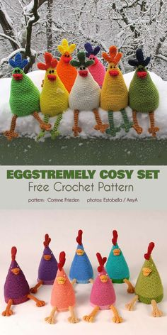 Eggstremely Cosy Set Free Crochet Pattern This eggstemely funny project will be perfect to keep your boiled eggs warm, but you can also use it for Easter decorations. The chickens will Crochet Easter, Easter Crochet Patterns, Crochet Birds, Crochet Patterns Amigurumi, Cute Crochet, Crochet Animals, Crochet Crafts, Crochet Dolls, Crochet Baby