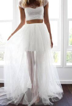 Jaw Droppingly Crop Top Two Piece Wedding Dresses Pink Tulle
