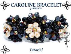 CAROLINE BRACELET pattern with PIP beads tutorial by PearlyBeadDesign on Etsy