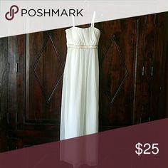 Elegant White Dress Look like a greek godess in this white w/ gold beading dress. Perfect for any formal occasion. Dresses