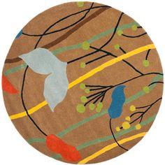 Safavieh Soho Jordan Wool Round Rug, Brown/Multi-Color, 6' Diameter