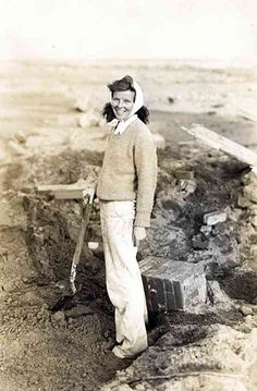Kate Hepburn gathering keepsakes from 1938 Hurricane   This picture was from the Connecticut Historical Society. So vast was her love of Fenwick, she would rebuild the home within one year, raising it several feet to try and keep any more storms at bay and stronger, out of brick, not wood. Nearly 60 years later that brick has held up just fine, leave it to Kate.