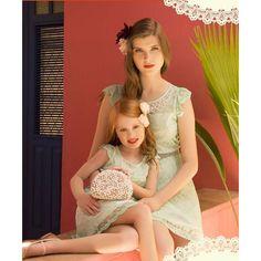 Vestido Mãe de Renda Color com Aplicação Rebordada - L'Essence Fashion - Roupas Femininas, Acessórios e Moda Praia