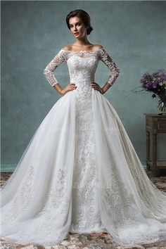 Ball Gown Off-the-shoulder Chapel Train Tulle Lace Wedding Dress