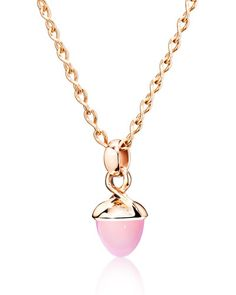 Mikado Bouquet Pink Chalcedony Pendant Enhancer in Rose Gold
