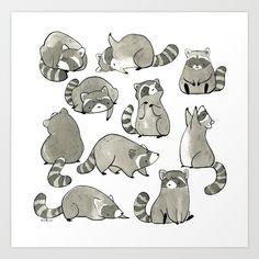 Delightfully Blobby Raccoons Shower Curtain by eloisenarrigan Cute Animal Drawings, Animal Sketches, Cute Drawings, Art Sketches, Raccoon Drawing, Raccoon Art, Racoon, Raccoon Illustration, Illustration Art