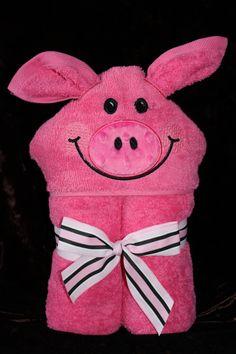 Appliqued Hooded Towel for Children  Piggy by kristinj72 on Etsy, $25.00