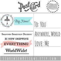 Shannon Sorensen Designs now shipping worldwide!