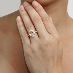14 Karat Rose Gold Oval Cut 10x8 Morganite Diamond Halo by SAMnSUE, $995.00