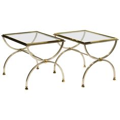 View this item and discover similar for sale at - Pair of steel & glass side tables with brass accents Brass Side Table, Side Tables, Modern End Tables, Table Furniture, Pairs, Steel, Antiques, Glass, Collection