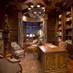 Traditional study with coffered ceiling & English paneling...