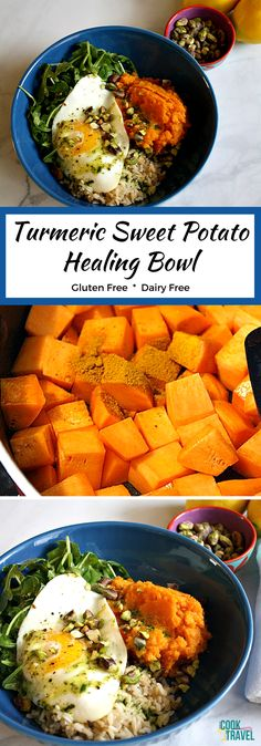 Oh my, this healthy Healing Bowl is one that you will want to make ASAP! It's dairy free, gluten free, and insanely good! The turmeric mashed sweet potatoes make this a hearty bowl along with some brown rice, which I love! Add in some arugula, an egg, pistachios for crunch, and a lemon dressing that is crazy good. I know you'll love this one too!
