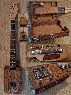 Carl's Custom Engraved Opening Body Handmade 6 String Electric Cigar Box Guitar
