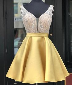 Princess Prom Dresses, A-Line/Princess Satin Beading V-neck Sleeveless Short/Mini Homecoming Dresses Plus Size Formal Dresses and Plus Size Party Dresses are great for your next special Occassion at cheap affordable prices The Dress Outlet. Yellow Homecoming Dresses, Cheap Short Prom Dresses, Hoco Dresses, Dance Dresses, Sexy Dresses, Formal Dresses, Summer Dresses, Wedding Dresses, Casual Dresses