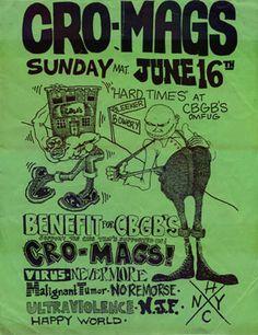 Cro-Mags punk hardcore flyer at CBGB's