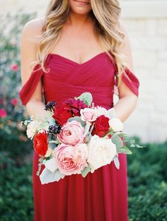 bridesmaids- overall shape and style of bouquet, with deeper berry tones as well , a bit more organic