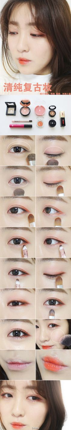 Gorgeous Korean coral eye makeup tutorial
