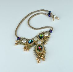 Bead embroidery necklace. Genuine freshwater pearl от CHARMATIONS