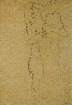Gustav Klimt - Embracing Lesbians Illustration Sketches, Drawing Sketches, Illustrations, Drawings, Gustav Klimt, Klimt Tattoo, Black Crayon, Lesbian Art, Artwork Ideas