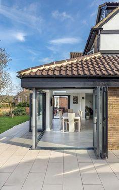 grey corner garden room with roof House Extension Design, Glass Extension, Rear Extension, House Design, Extension Ideas, Bungalow Extensions, Garden Room Extensions, House Extensions, Conservatory Kitchen