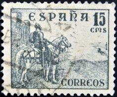 SPAÑA - CIRCA 1939: Un sello impreso en la España, muestra a un héroe nacional de El Cid Campeador de España en un caballo, circa 1939