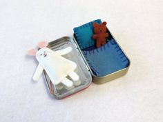 white Wee Mouse in Altoids Tin House with blue by EarthyMamaGoods, $19.00