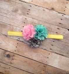 Spring Fling Headband, Spring, Pastels, Photography, Newborn, Toddler, Photo Prop , Baby, Busy Flower, Glitter , Photo Prop, Satin Mesh on Etsy, $7.50
