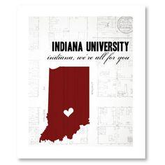 Indiana University - Indiana Hoosier - Indiana University decor - 8x10 print. $15.00, via Etsy.