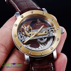 Beautiful IK Colouring Tourbillon Skeleton Steampunk Bridge Mechanical Watch IK Colouring, the professional mechanical watch designer, has struggled for being the most professional supplier for a long Watch Complications, Steampunk Clock, Skeleton Watches, Automatic Watches For Men, Beautiful Watches, Unique Watches, Mechanical Watch, Watch Case, Stainless Steel Watch