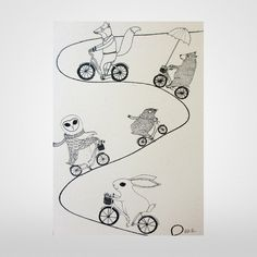 Cycling Adventure A3 Screen Print From Boodle at The Bristol Shop