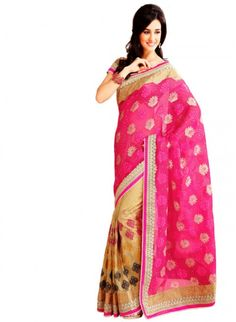 Tantalizing Deep Honeydew & Fuchsia Embroidered #Saree #designersarees #clothing #womenswear #womenapparel #ethnicwear