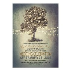 Rustic tree & string lights wedding invitations. Perfect for a barn wedding!