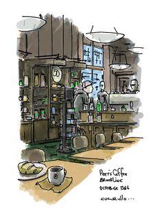 Waiting for Teresa #cafemike #croissant #brookline #coolidgecorner #cafesketching #urbansketching #peetscoffee #breakfast