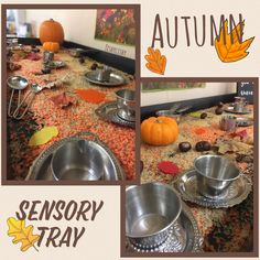 Autumn sensory tray with miniature silver trays, jugs and cups.