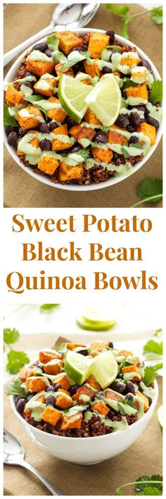 Potato and Black Bean Quinoa Bowls -- A delicious, filling, meatless meal that will please both vegetarians and meat lovers! Sweet Potato and Black Bean Quinoa Bowls -- A delicious, filling, meatless meal that will please both vegetarians and meat lovers! Healthy Recipes, Veggie Recipes, Whole Food Recipes, Cooking Recipes, Vegan Sweet Potato Recipes, Easy Vegitarian Dinner Recipes, Quinoa Dinner Recipes, Healthy Black Bean Recipes, Free Recipes